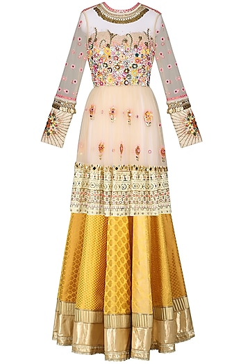 Beige Floral Peplum Top with Skirt by Param Sahib