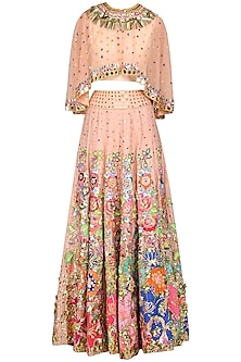 Peach Embellished Skirt with Cape and Blouse by Param Sahib