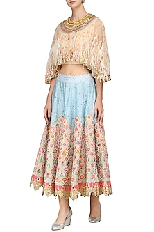 Powder Blue Skirt with Cape Blouse by Param Sahib