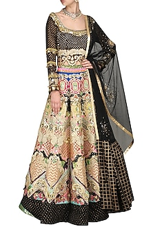 Black Embroidered Lehenga Set by Param Sahib