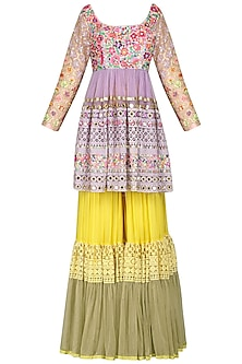 Yellow Embroidered Sharara Set by Param Sahib