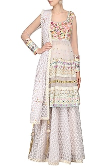 Space Grey Embroidered Top with Skirt and Dupatta by Param Sahib