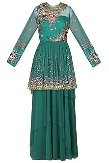 Teal Peplum Top with Skirt by Param Sahib