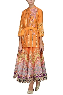 Orange Embroidered Skirt with Shirt and Belt by Param Sahib
