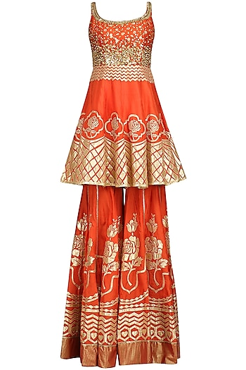 Red Embroidered Sharara Set by Param Sahib
