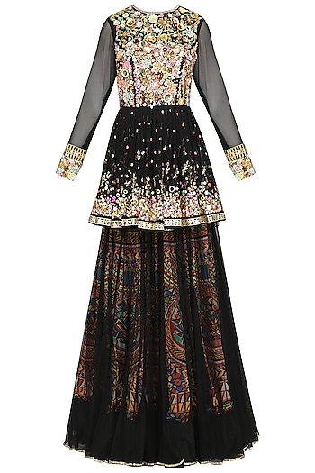 Black Embroidered Top with Layered Skirt by Param Sahib