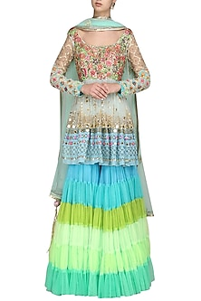 Blue Embroidered Sharara Set by Param Sahib