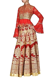 Red Embroidered Peplum Top with Skirt by Param Sahib