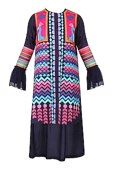 Navy Blue Applique Work Tunic Dress by Param Sahib
