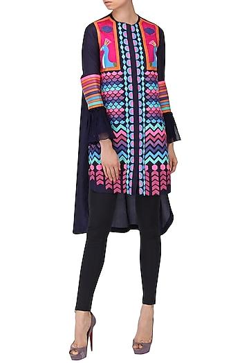 Navy Blue Applique Work Tunic Dress by Param Sahib