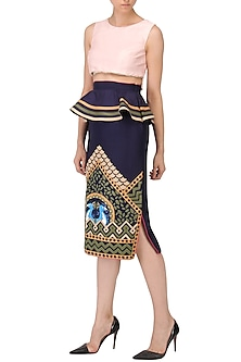 Navy Blue Applique Work Peplum Skirt by Param Sahib