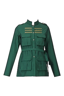Green Faux Leather Stripe Work Shirt by Param Sahib