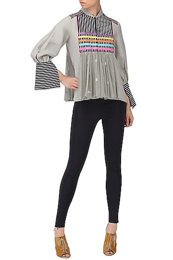 Grey Faux Leather Stripes Top by Param Sahib