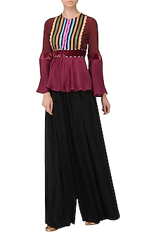 Wine Faux Leather Stripes Peplum Top by Param Sahib
