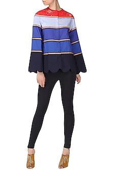Blue Striped Scallop Shirt by Param Sahib