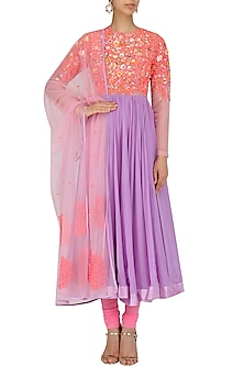 Pink and Lavender Dori Embroidered Anarkali Set by Param Sahib