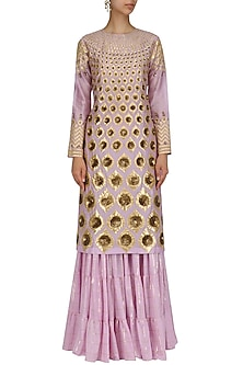 Lavender Hand Embroidered Kurta and Sharara Pants Set by Param Sahib