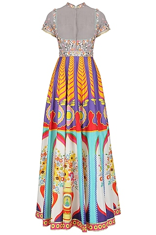 Grey Floral Work High Neck Anarkali Set by Param Sahib