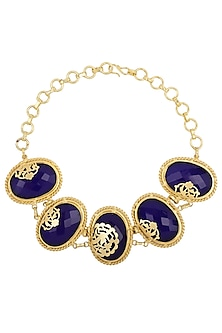 Gold Finish Blue Gems Choker Necklace by Parure