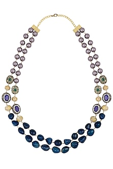 Gold Finish Lapis and Mauve Pearls Necklace by Parure