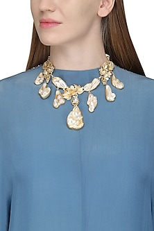 Gold Finish Baroque Pearls and Gems Necklace by Parure