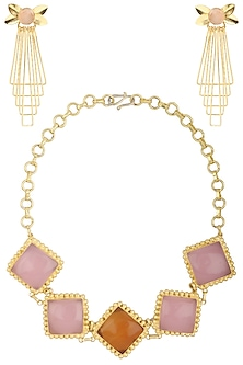 Gold Finish Pink Gems Choker Necklace Set by Parure