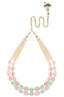 Gold Plated Multi-Colour Gems Double Line Necklace by Parure