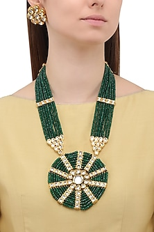 Matte Finish Polki and Emerald Green Beads Necklace Set by Parure
