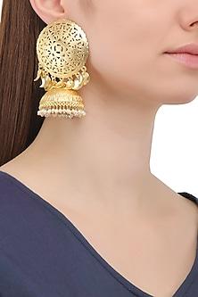 Matte Finish Jaali Work Jhumki Earrings by Parure