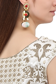 Matte Finish Red and White Flower Motif Earrings by Parure