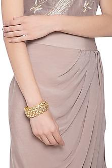 Gold plated kundan pochi bracelet by Parure