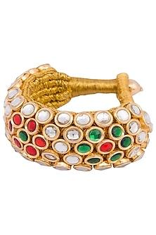 Gold plated kundan, zari and meena bracelet by Parure