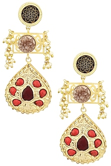 Matte Finish Jaali Work and Semi Precious Stones Earrings by Parure