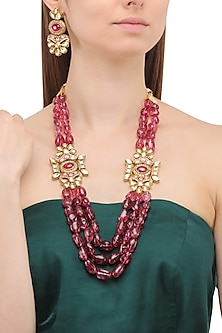 Matte Finish Floral Motif and Wine Semi Precious Stones Necklace Set by Parure