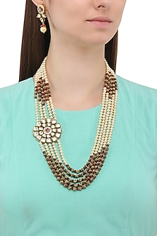Matte Finish Golden Beads and Pearls Broach Necklace Set by Parure