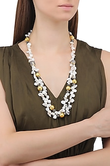 Matte Finish Zircons and Baroque Pearls Necklace by Parure