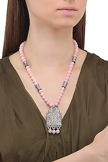 Matte Finish Zircons and Baby Pink Jade Necklace by Parure