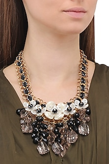 Matte Finish Flower Motifs and Crystal Necklace by Parure