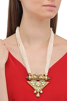 Matte Finish Engraved Mughal Motif Necklace by Parure
