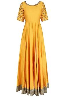 Yellow and Gold Floral Gota Patti Embroidered Anarkali Set by Priyanka Jain