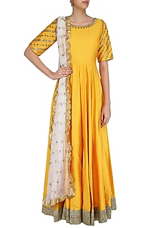 Yellow and Gold Floral Gota Patti Embroidered Anarkali Set by Priyanka Jain