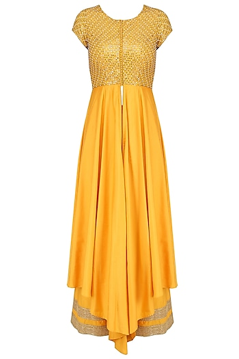 Yellow and Gold Floral Gota Patti Embroidered Front Slit Anarkali Set by Priyanka Jain