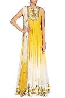 Yellow Ombre Dyed Floral Gota Patti Embroidered Anarkali Set by Priyanka Jain
