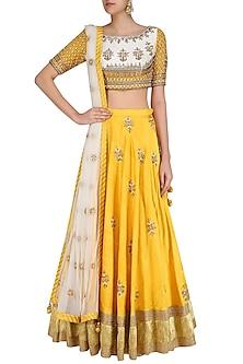 Off White Gota Patti Embroidered Blouse and Yellow Lehenga Set by Priyanka Jain