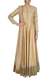 Gold Hand Embroidered Anarkali Suit Set by Priyanka Jain