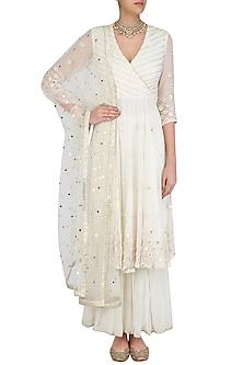 Ivory Embroidered Agrakha Style Kurta and Sharara Pants Set by Priyanka Jain