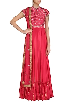 Red Gota Patti Embroidered Anarkali Suit Set by Priyanka Jain