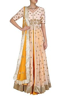Peach Gota Patti Embroidered Jacket and Mustard Skirt Set by Priyanka Jain