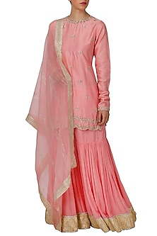Pink Embroidered Sharara Set by Priyanka Jain