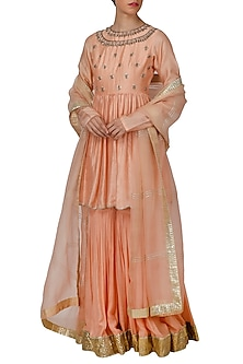 Peach Embroidered Peplum Sharara Set by Priyanka Jain